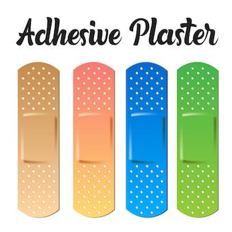 Ilustração do conjunto de adesivos de cores realistas