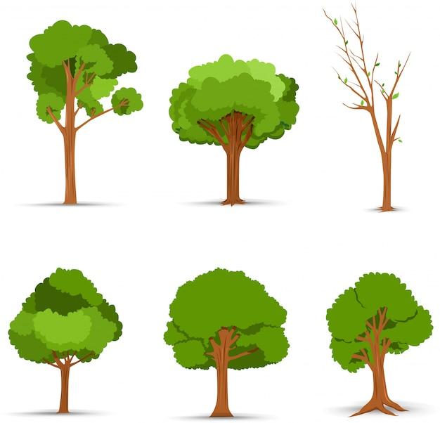 Ilustração do conjunto de árvores