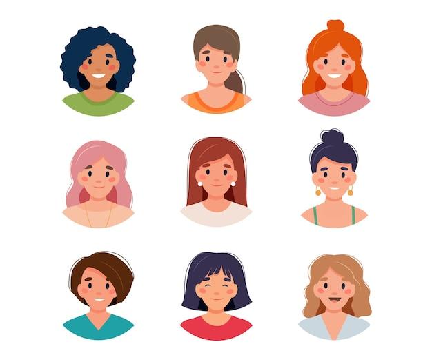 Ilustração do conjunto de avatar feminino