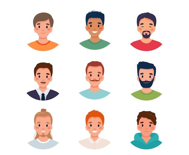 Ilustração do conjunto de avatar masculino