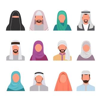 Ilustração do conjunto de avatares de personagens muçulmanos