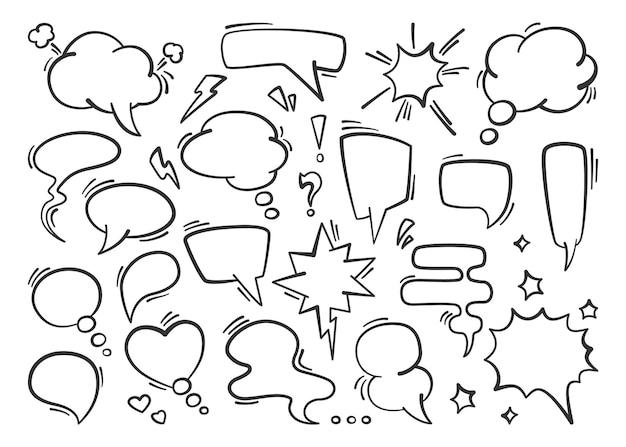 Ilustração do conjunto de balões de fala
