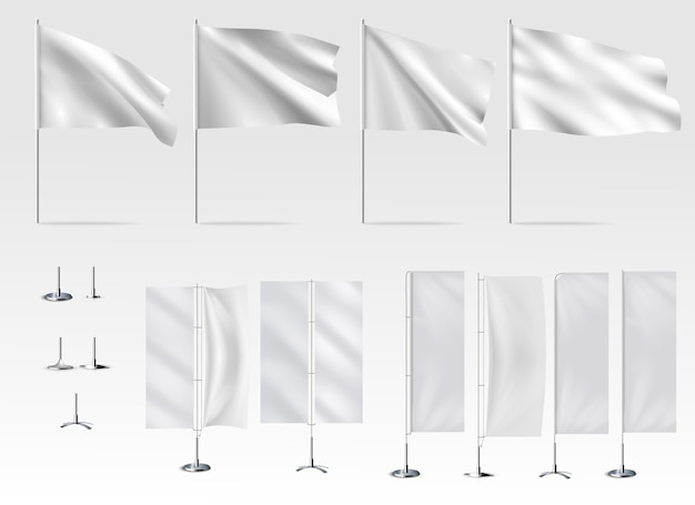Ilustração do conjunto de bandeira branca