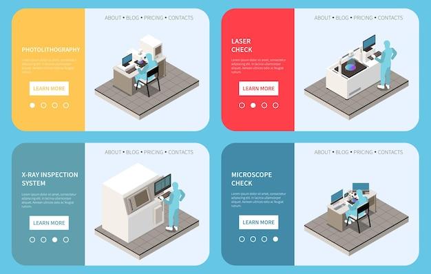 Ilustração do conjunto de banners de produção de chips semicondutores