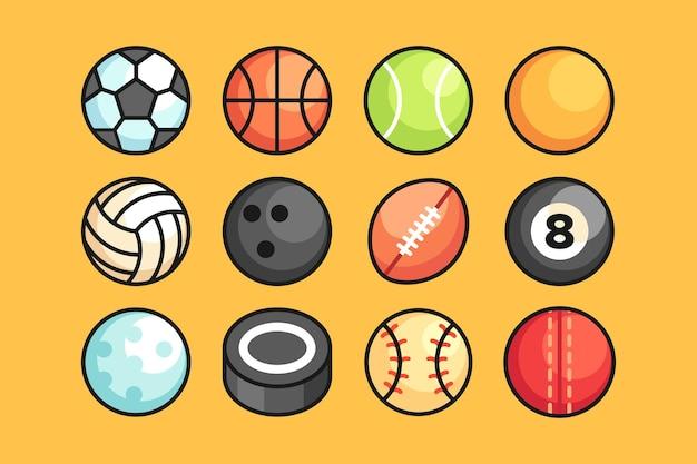 Ilustração do conjunto de bolas esportivas