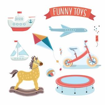 Ilustração do conjunto de brinquedos de crianças.