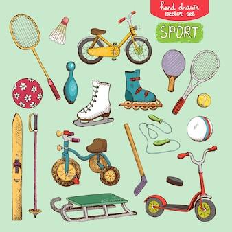 Ilustração do conjunto de brinquedos esportivos: patinação, bicicleta com bola de esqui e tênis