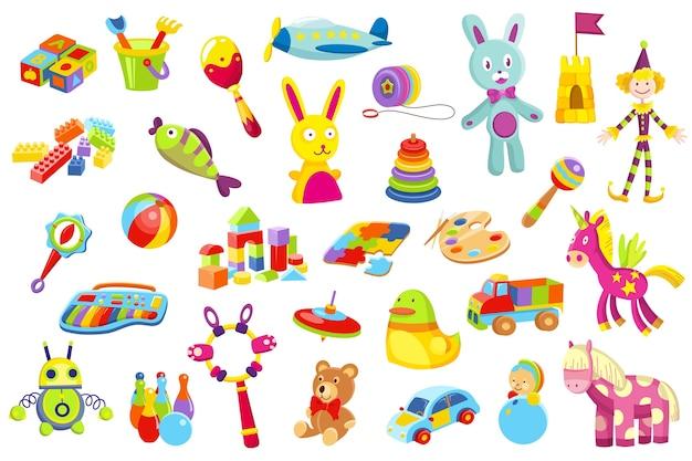 Ilustração do conjunto de brinquedos para bebês