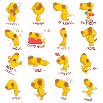 Ilustração do conjunto de cachorro fofo