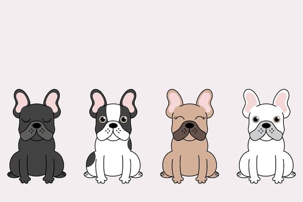 Ilustração do conjunto de cães engraçados dos desenhos animados. coleção de cães do touro francês.