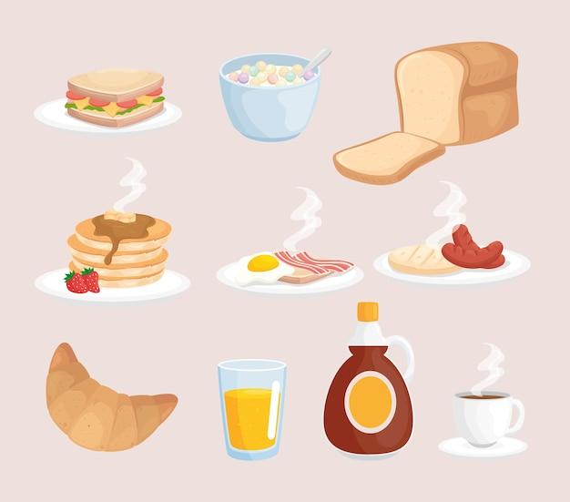 Ilustração do conjunto de café da manhã