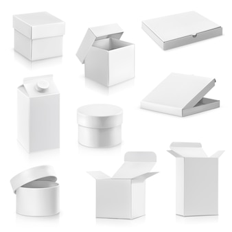 Ilustração do conjunto de caixas de papelão brancas