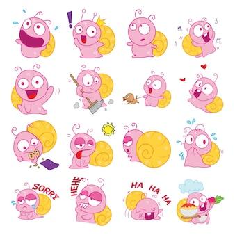 Ilustração do conjunto de caracol dos desenhos animados