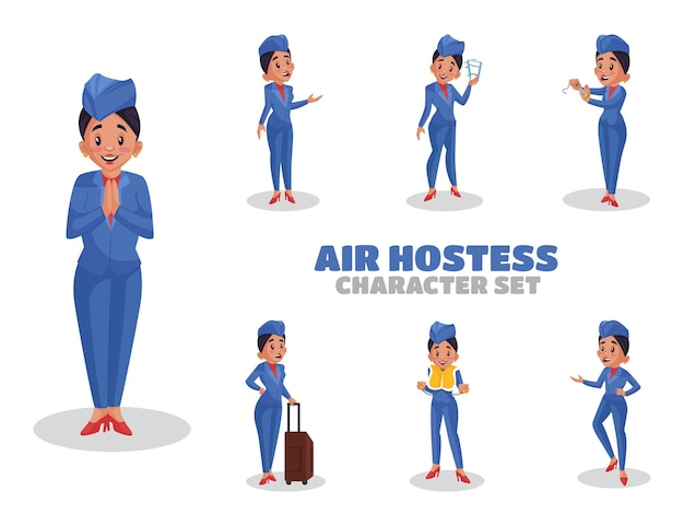 Ilustração do conjunto de caracteres da aeromoça