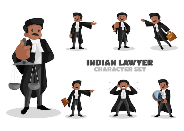 Ilustração do conjunto de caracteres de advogado indiano