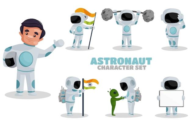 Ilustração do conjunto de caracteres de astronauta