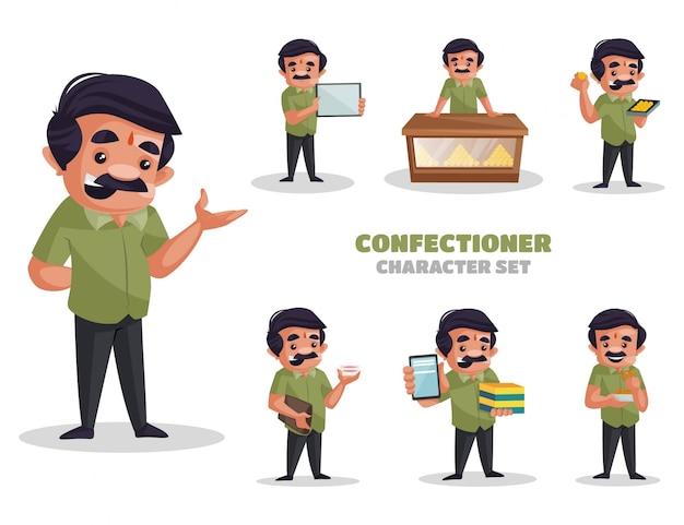 Ilustração do conjunto de caracteres de confeiteiro