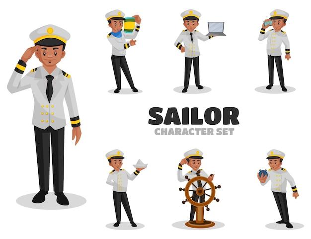 Ilustração do conjunto de caracteres de marinheiro