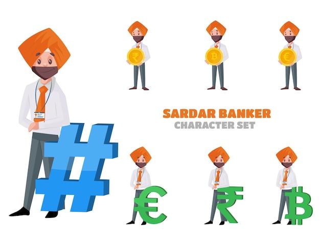 Ilustração do conjunto de caracteres do banqueiro sardar
