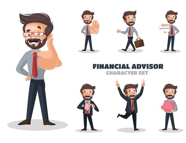 Ilustração do conjunto de caracteres do consultor financeiro