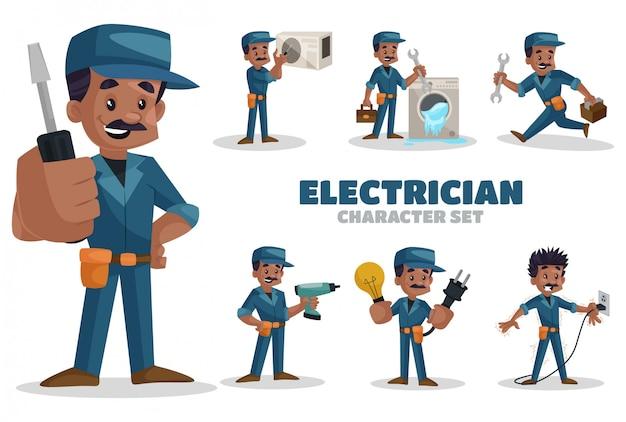 Ilustração do conjunto de caracteres do eletricista