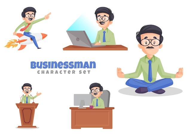 Ilustração do conjunto de caracteres do empresário