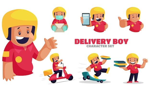 Ilustração do conjunto de caracteres do entregador