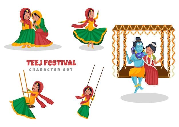 Ilustração do conjunto de caracteres do festival teej