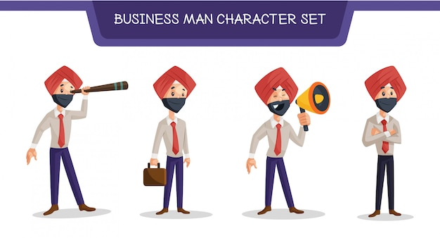 Ilustração do conjunto de caracteres do homem de negócios