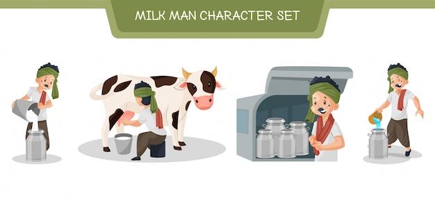 Ilustração do conjunto de caracteres do homem leite