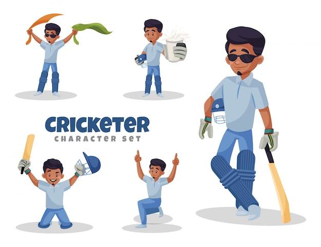 Ilustração do conjunto de caracteres do jogador de críquete