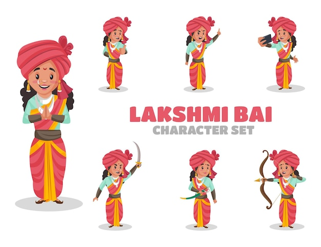 Ilustração do conjunto de caracteres lakshmi bai