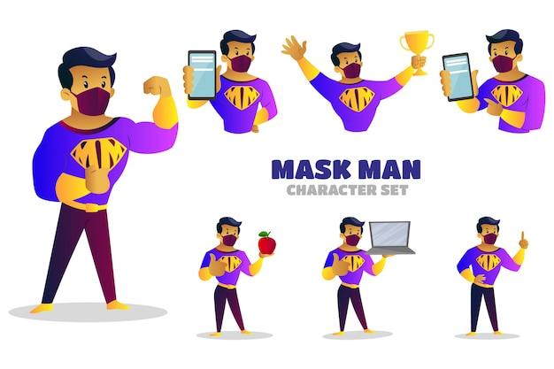 Ilustração do conjunto de caracteres mask man