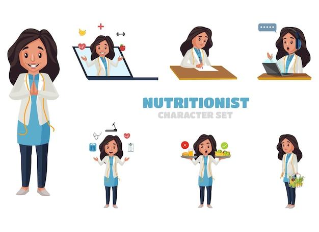 Ilustração do conjunto de caracteres nutricionista