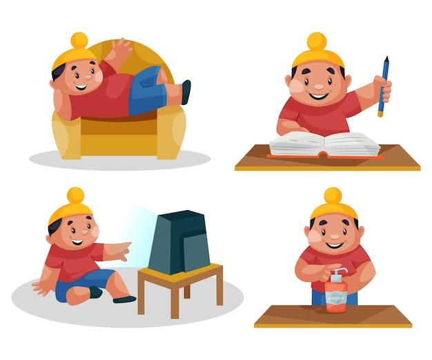 Ilustração do conjunto de caracteres punjabi kid
