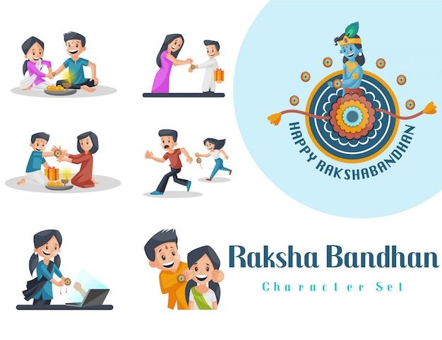 Ilustração do conjunto de caracteres raksha bandhan