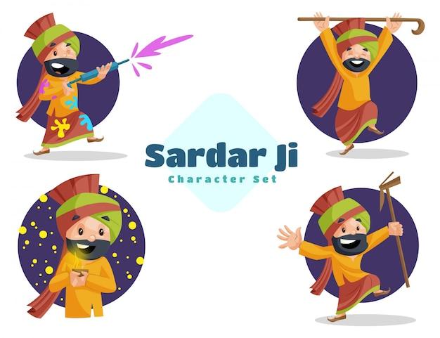 Ilustração do conjunto de caracteres sardar ji