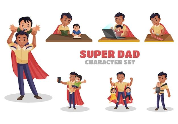 Ilustração do conjunto de caracteres super dad