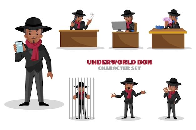 Ilustração do conjunto de caracteres underworld don