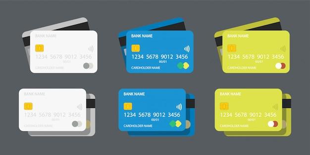 Ilustração do conjunto de cartões de crédito em cores diferentes na frente e atrás com sombra simples