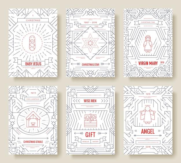Ilustração do conjunto de cartões de feliz natal