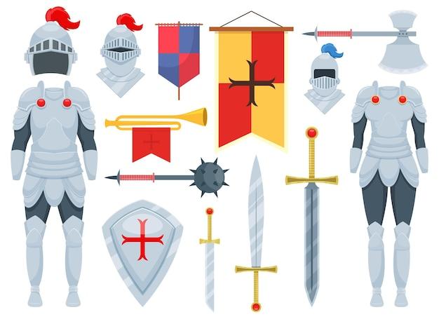Ilustração do conjunto de cavaleiros isolada no branco