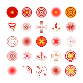 Ilustração do conjunto de círculos vermelhos de dor