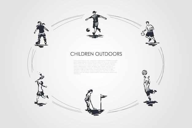 Ilustração do conjunto de conceito de crianças ao ar livre