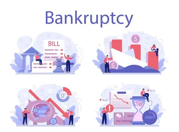 Ilustração do conjunto de conceito de falência