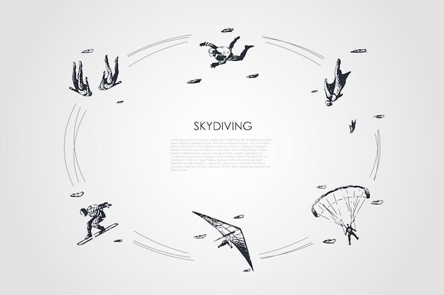 Ilustração do conjunto de conceito de paraquedismo