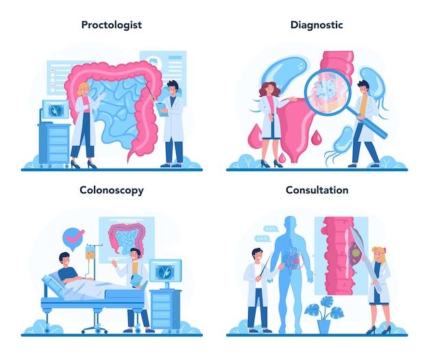 Ilustração do conjunto de conceito de proctologista