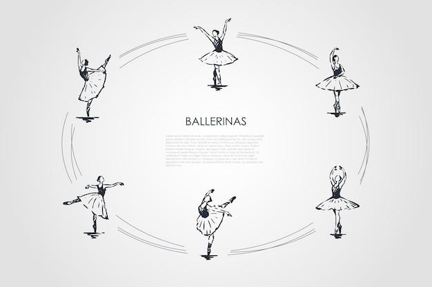 Ilustração do conjunto de conceitos de bailarinas