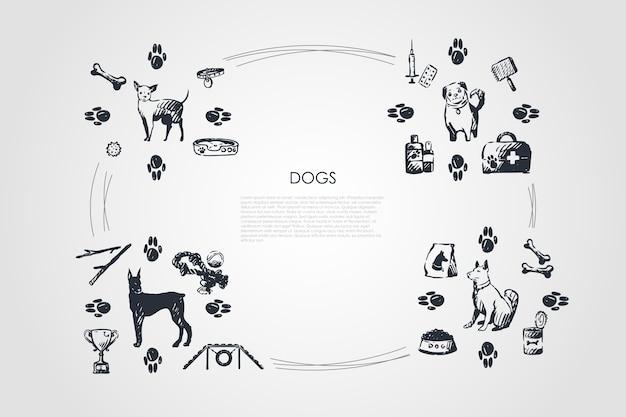 Ilustração do conjunto de conceitos de cães