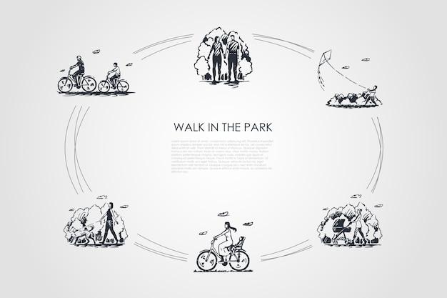 Ilustração do conjunto de conceitos de caminhada no parque
